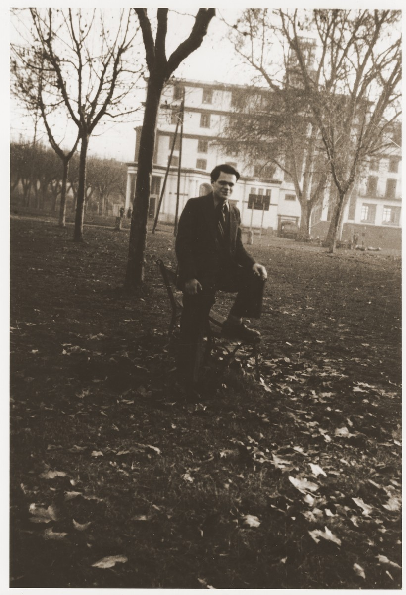 Walter Karliner on the grounds of the Hotel du Moulin in Moissac.   The Hotel du Moulin residence for displaced Jewish youth was operated by the French-Jewish scouting movement, Eclaireurs Israelites de France.