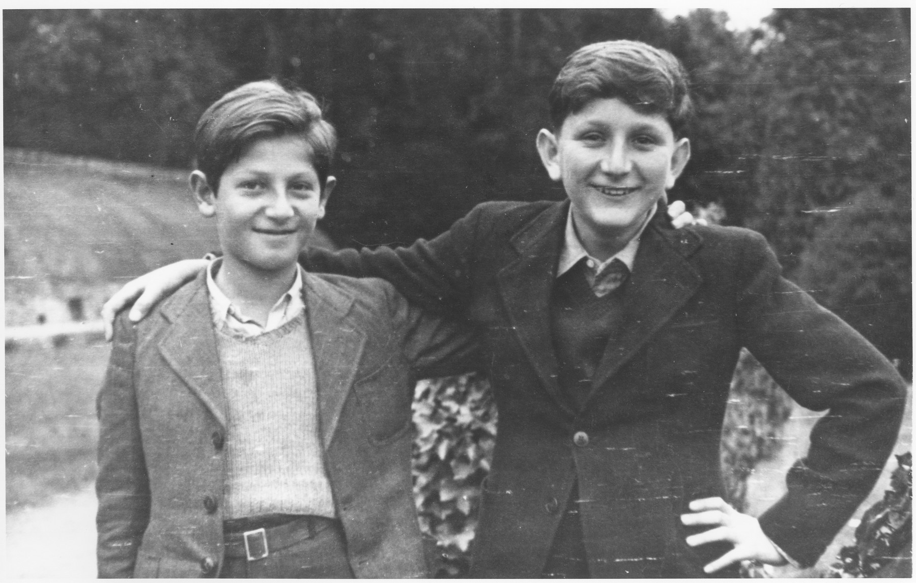 Ari Rosenberg (left) and Ivar Segalowitz (right) pose outside during the time they were residents of the Champigny children's home.