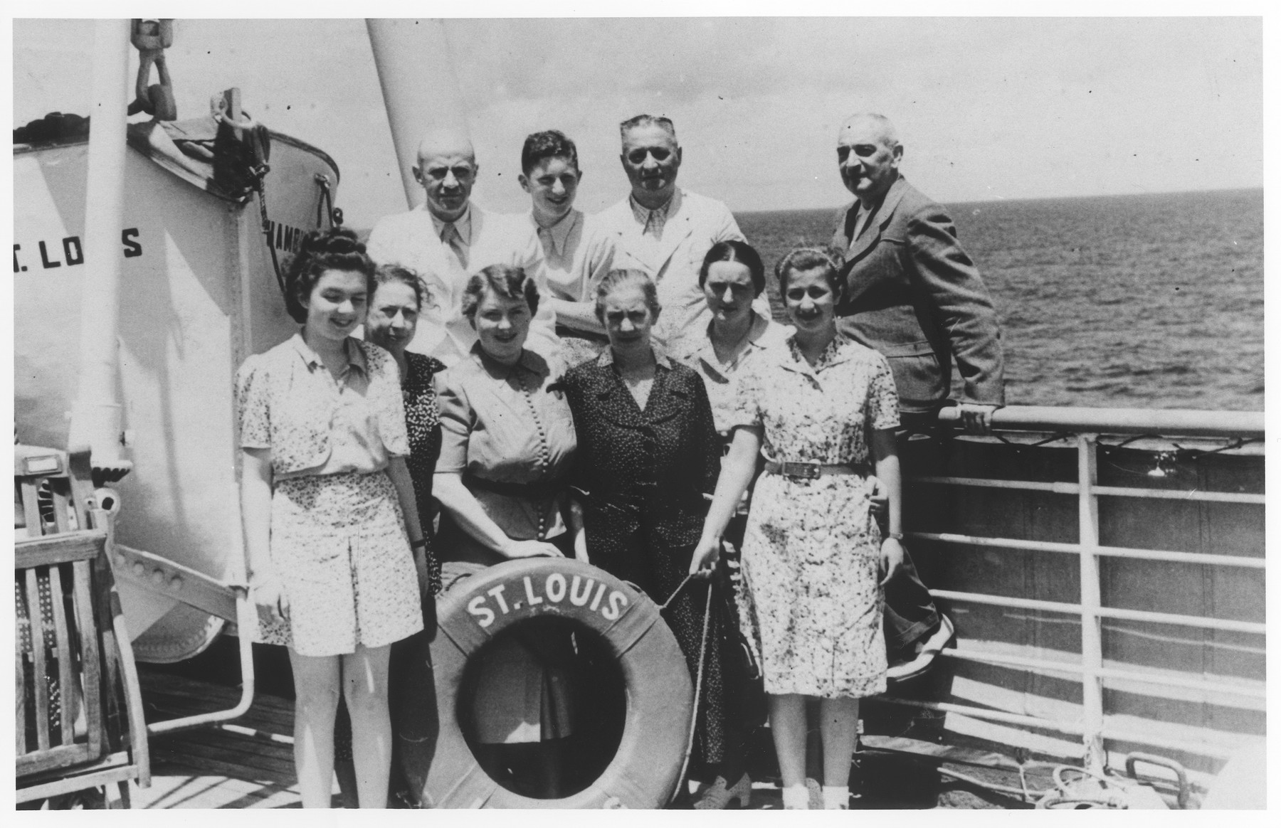Members of the extended Heilbrun family on board the MS St. Louis.  Pictured in the front row from left to right are: Inge Heilbrun, Grete Heilbrun, Berna Heilbrun, Emma David, and Johanna Heilbrun.  In the back row are Bruno Heilbrun, Guenther Heilbrun, Norbert Heilbrun and Leon Heilbrun.