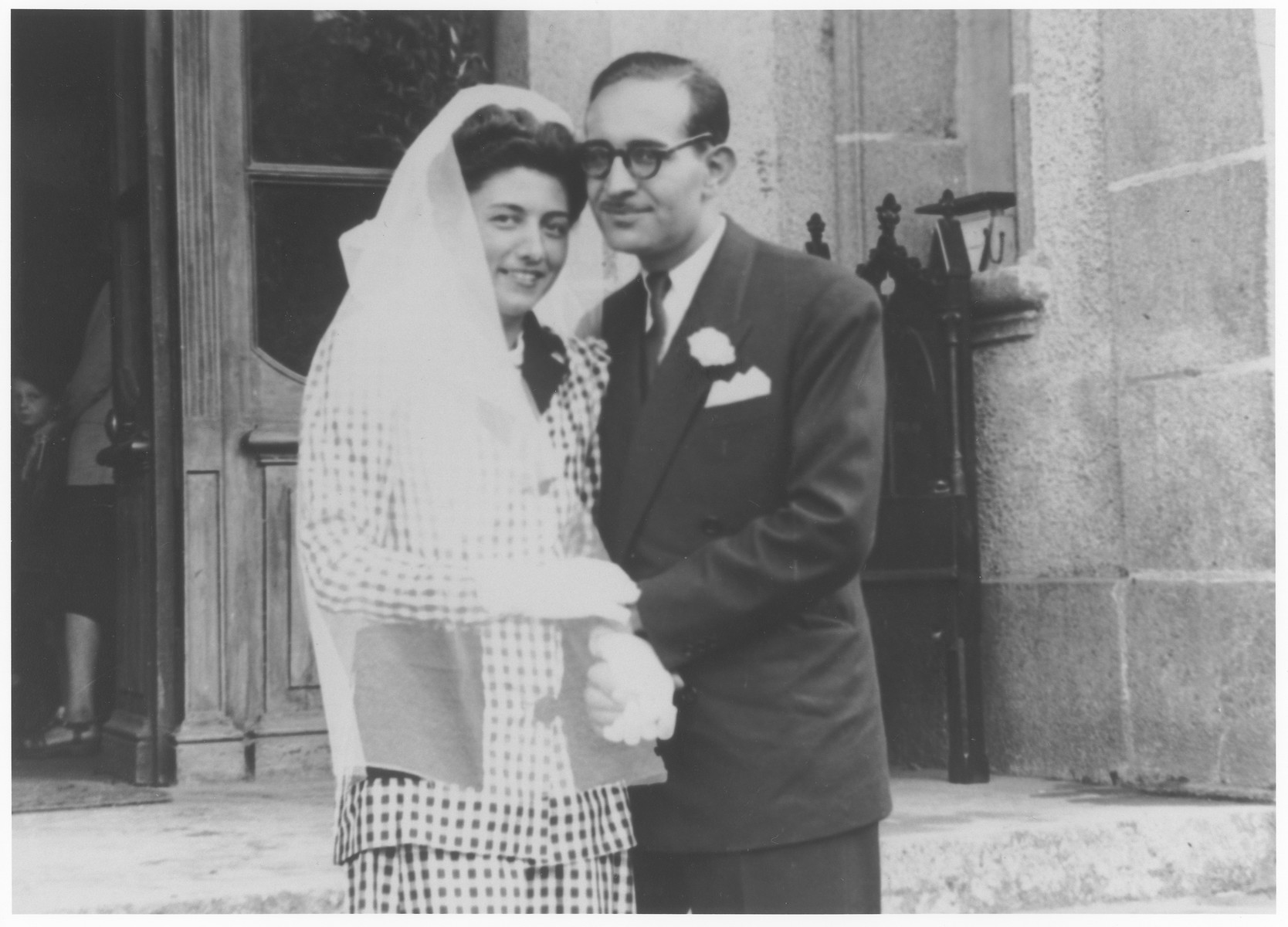 Wedding portrait of OSE administrators Julien Samuel and Vivette Hermann at the Le Couret children's home.