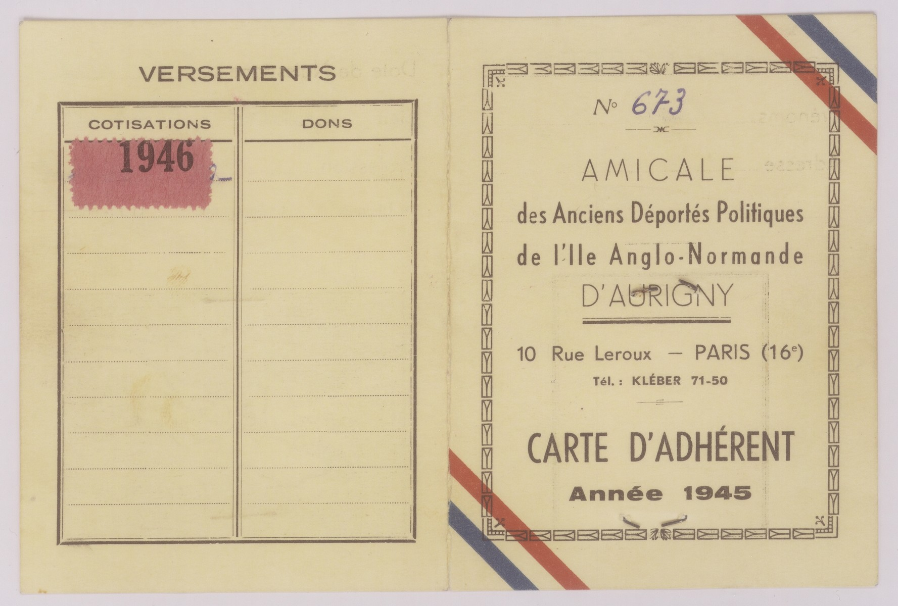 Membership card issued to Werner Neuberger by the Association of Political Deportees to the Ille Anglo-Normand of Aurigny.