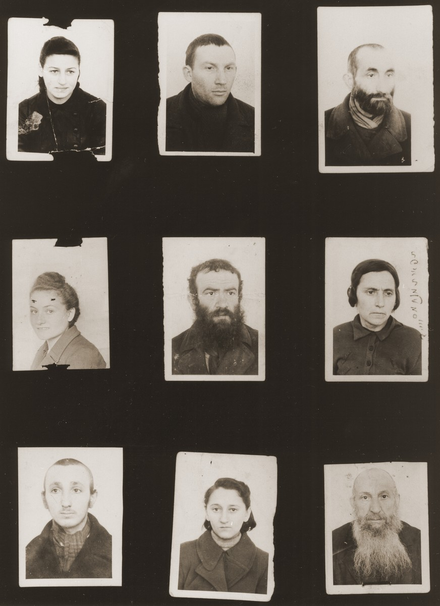 A sampling of the more than 300 identification card photos of local Jewish residents that were found on the floor of the Gestapo headquarters in Biala Rawska in January 1945.    They were discovered by Leon Sztubert, a Jewish survivor from the town, who spent the war in hiding in a nearby forest.  Pictured (from the top row left and moving across each row) are Rozia Mogielnicka; Iczek Majer Frajderajch (b. November 10,1912); Icze Taugetman (b. September 9,1890); Sarah Ginsburg; Szlomo Rawski; Mrs. Srajch; Najberg (b. 1929); ? Goldberg; and Pinchas Janowsky.