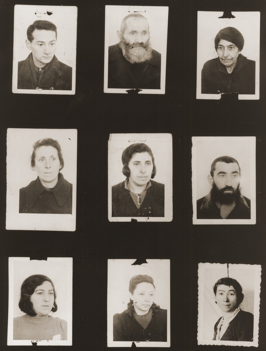 """A sampling of the more than 300 identification card photos of local Jewish residents that were found on the floor of the Gestapo headquarters in Biala Rawska in January 1945.    They were discovered by Leon Sztubert, a Jewish survivor from the town, who spent the war in hiding in a nearby forest.  Pictured (from the top row left and moving across each row) are Boleslaw Zajz (b. March 27, 1922); Yehuda Mayer Kurtzbojm; Dvora Filosoff (b. March 10, 1882); Reva [illegible]; """"sister of Hinda"""" (d. 1941); Mendel Weber; Rywka Marchew; Chana Tauba Hauberg; and """"Zelcer""""."""