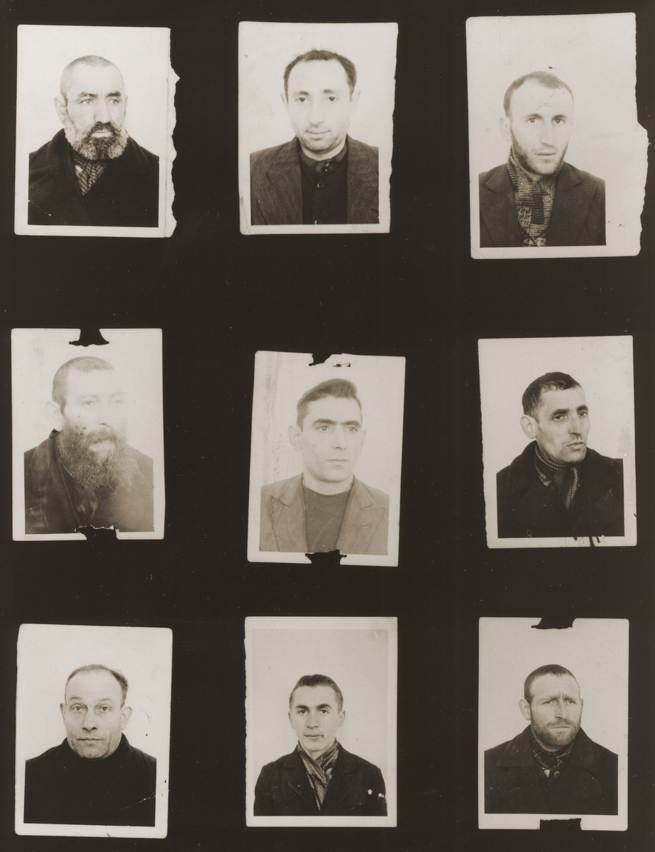 A sampling of the more than 300 identification card photos of local Jewish residents that were found on the floor of the Gestapo headquarters in Biala Rawska in January 1945.    They were discovered by Leon Sztubert, a Jewish survivor from the town, who spent the war in hiding in a nearby forest.  Pictured (from the top row left and moving across each row) are Yankl David Goldberg; Hirsch Warszawski; Binem Moishe Rawski; Moshe Berman; Itzchak Finkelszatjn; Lazar Wisniewski;  David Gittler; Yakov David Rawski (b. May 20, 1920); and Yankel Yosef Isaacks.