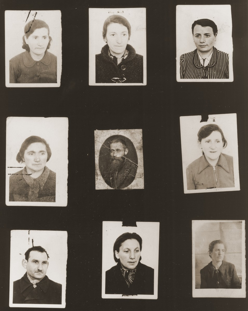 "A sampling of the more than 300 identification card photos of local Jewish residents that were found on the floor of the Gestapo headquarters in Biala Rawska in January 1945.    They were discovered by Leon Sztubert, a Jewish survivor from the town, who spent the war in hiding in a nearby forest.  Pictured (from the top row left and moving across each row) are Sarah Tautsztajn; Baila Miller; Topcia Goldberg Janowska; Tzipa Baum; Jankel Tusia Zimmler; Feigl Leah Gelbart; ""Pafajszes""; Malka Grinwald; and Feiga Artman."