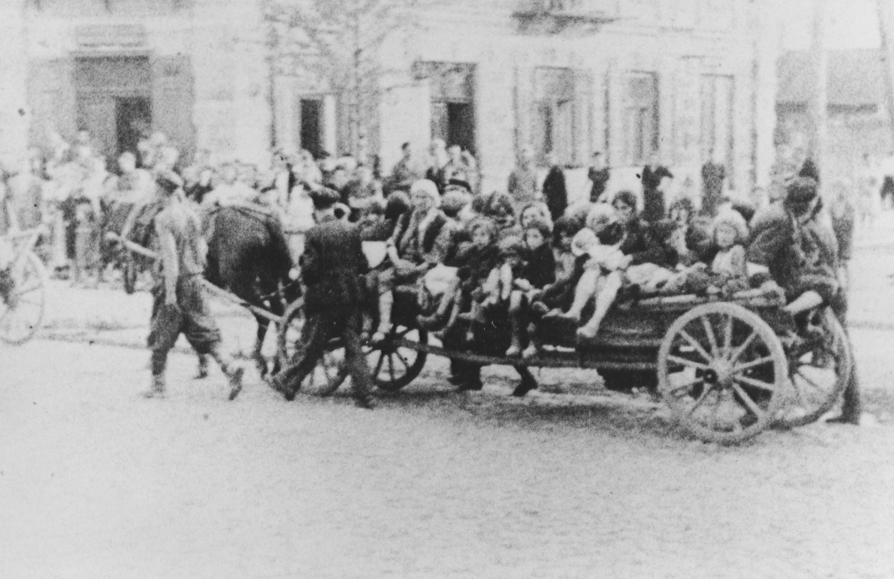 Jewish women and children are transported by horse-drawn wagon during a deportation action in the Siedlce ghetto.