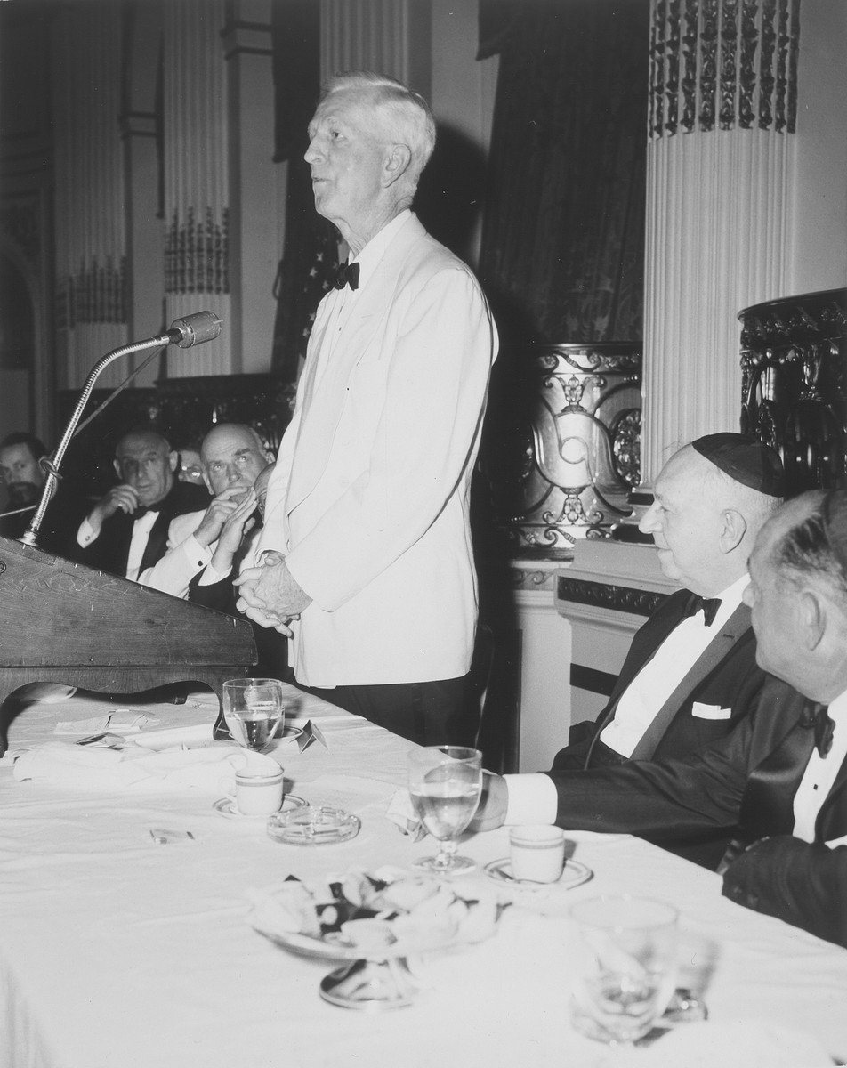 James Grover McDonald speaks at a fundraising banquet on behalf of the State of Israel.