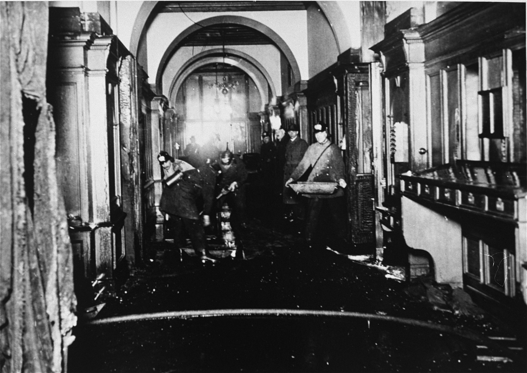 Firefighters at work inside the Reichstag building during the fire.