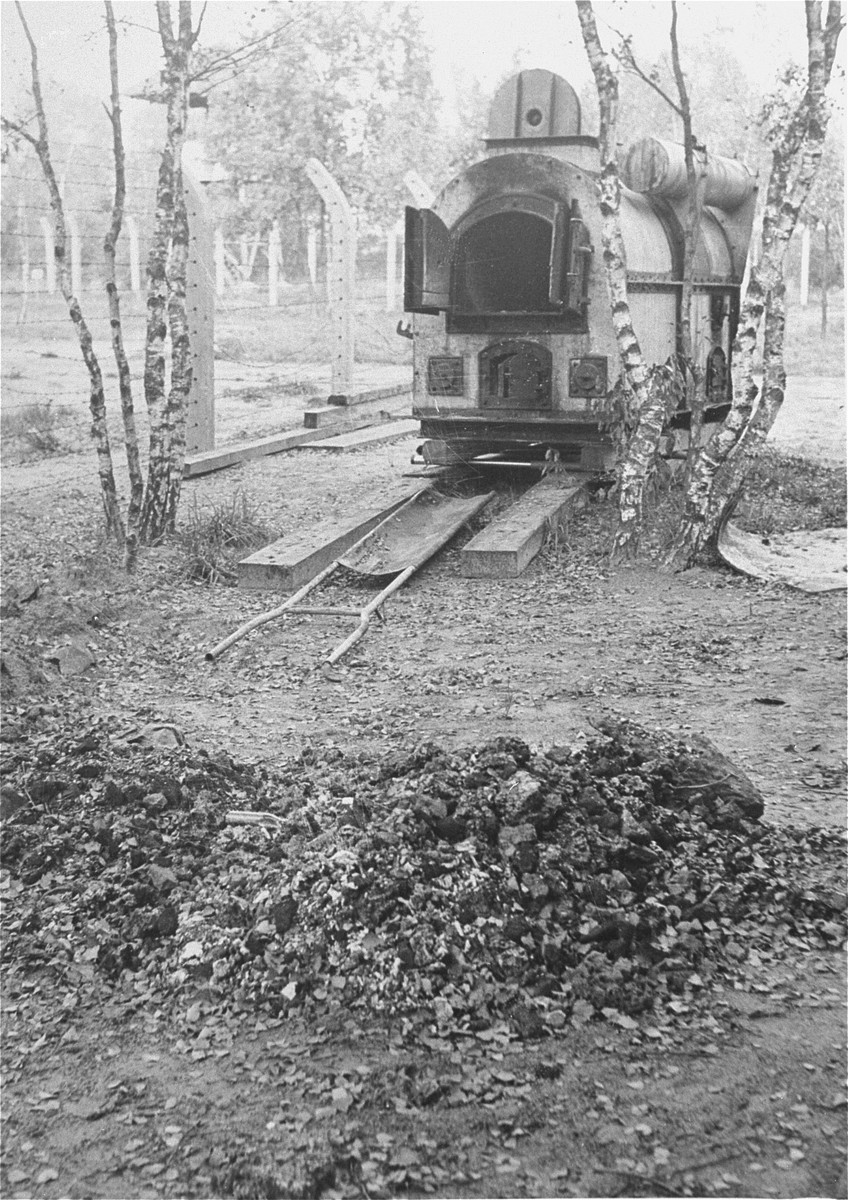 An incinerator and a pile of ashes and human remains found in Vught by the Allies.