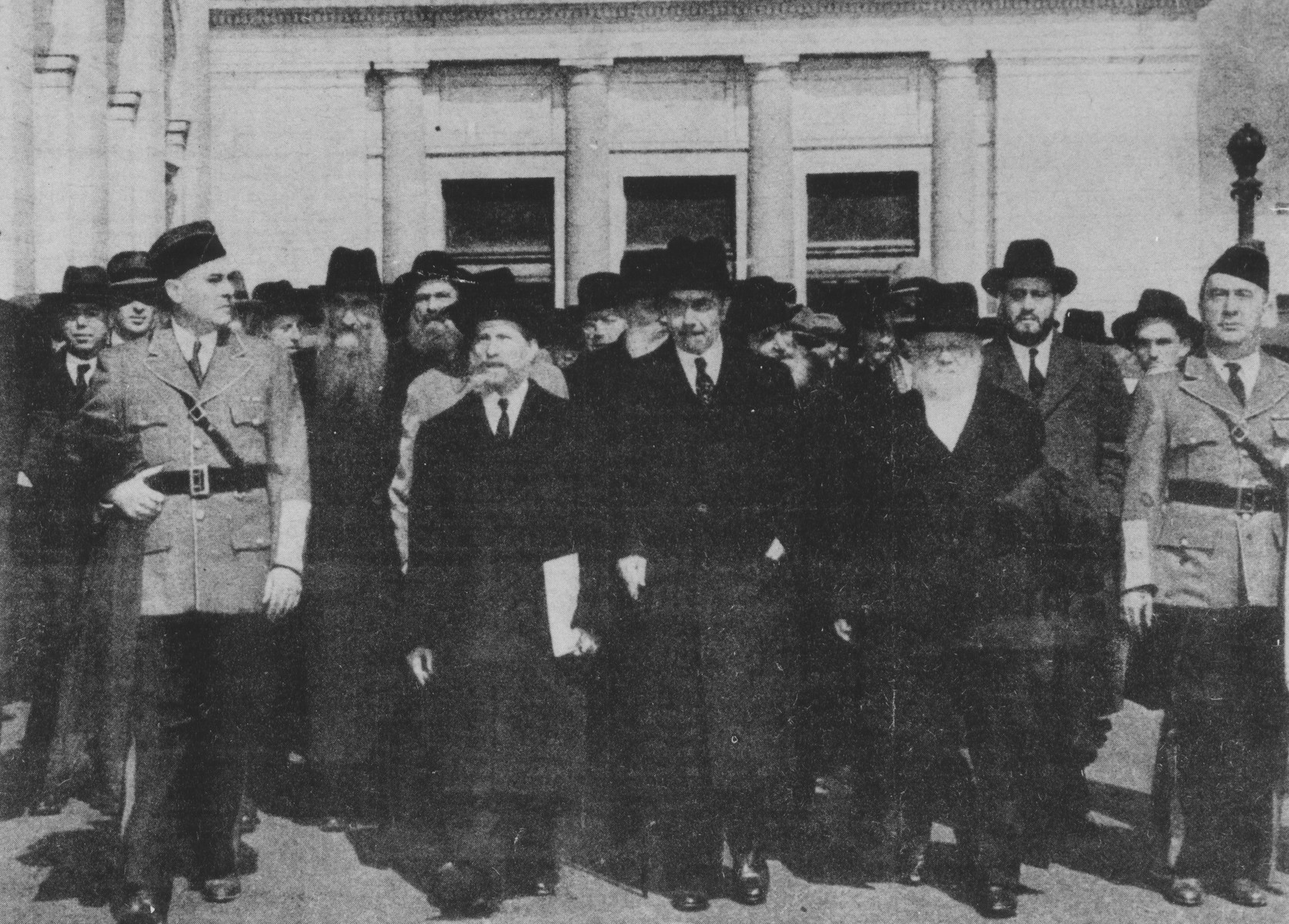 Rabbi Eliezer Silver (front row, second from left) leads a march of Orthodox rabbis to the Capitol to bring attention to the plight of European Jewry.