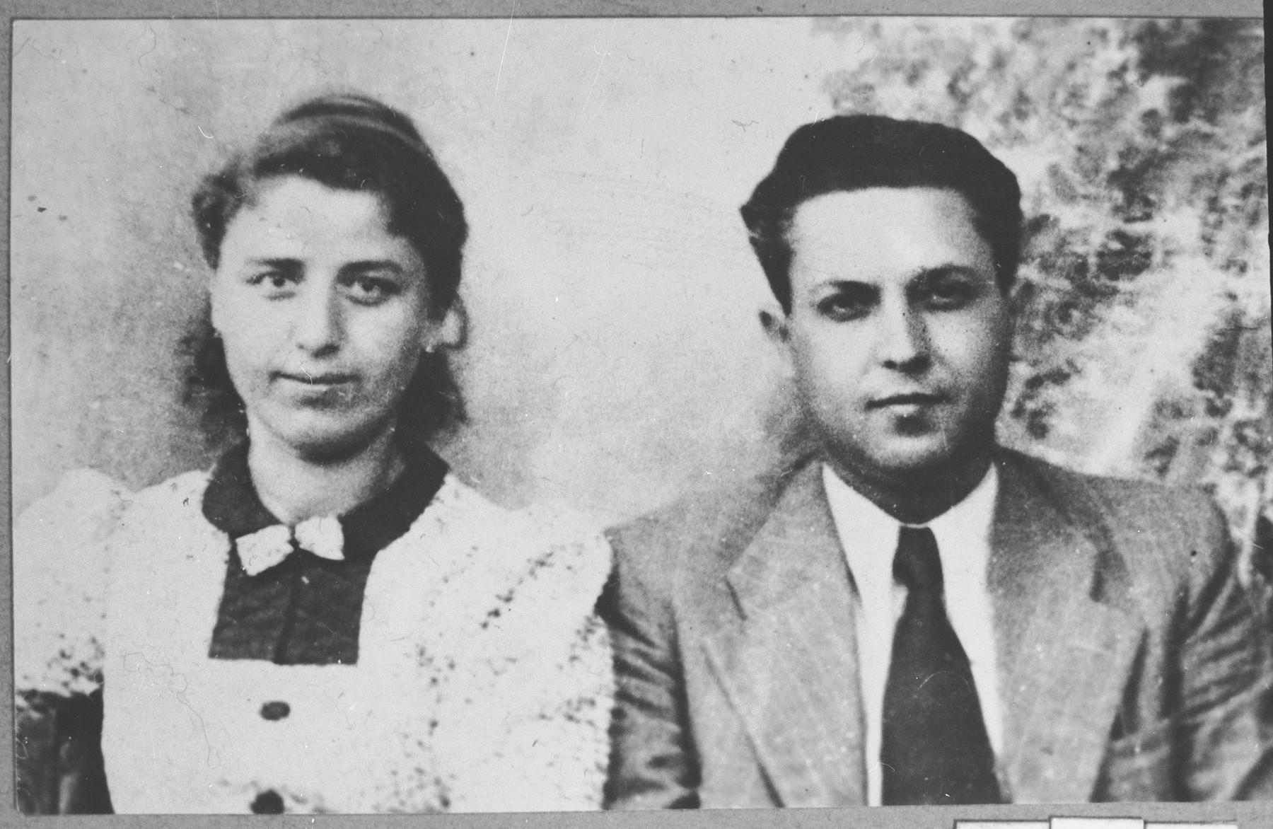 Portrait of Zak Kalderon, son of Mushon Kalderon, and his wife, Rebeka.  Zak was a chopper.  They lived at Miloyevitsa 24 in Bitola.