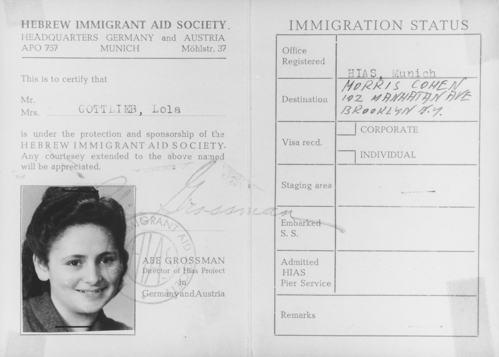 HIAS [Hebrew Immigrant Aid Society] identification card for Lola Gottlieb that was issued in Munich.