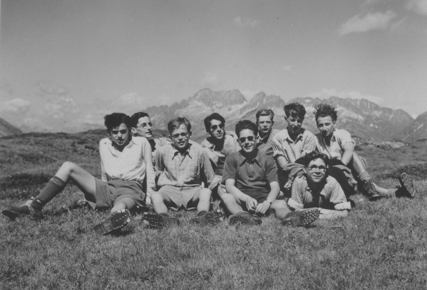 Boys from Hôme de la Forêt children's home on a summer excursion near the source of the Rhine.