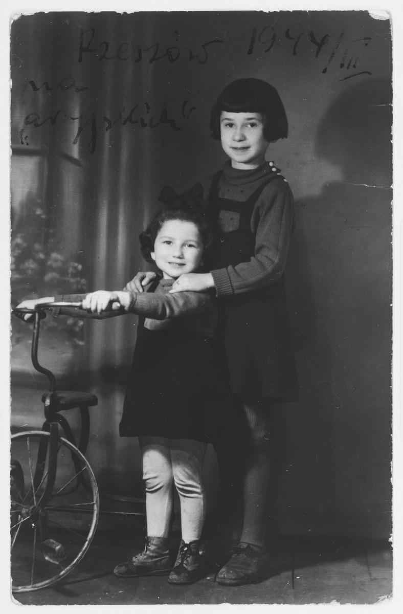 Studio portrait of Marylka Majranc and Rivka Horowitz taken while in hiding in Rzeszow.