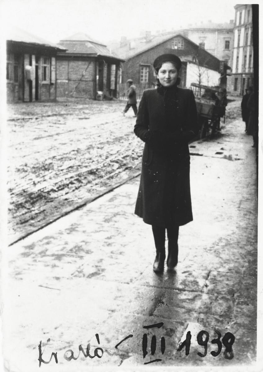 Steffa Horowitz walks down a deserted street in Krakow.