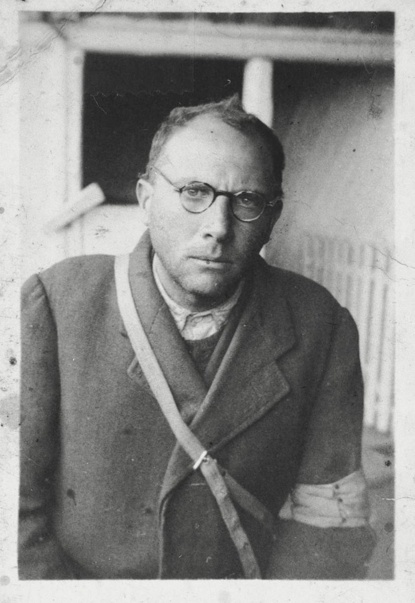 Close-up portrait of Emil Mermelstein in a Hungarian labor brigade in Mukachevo.
