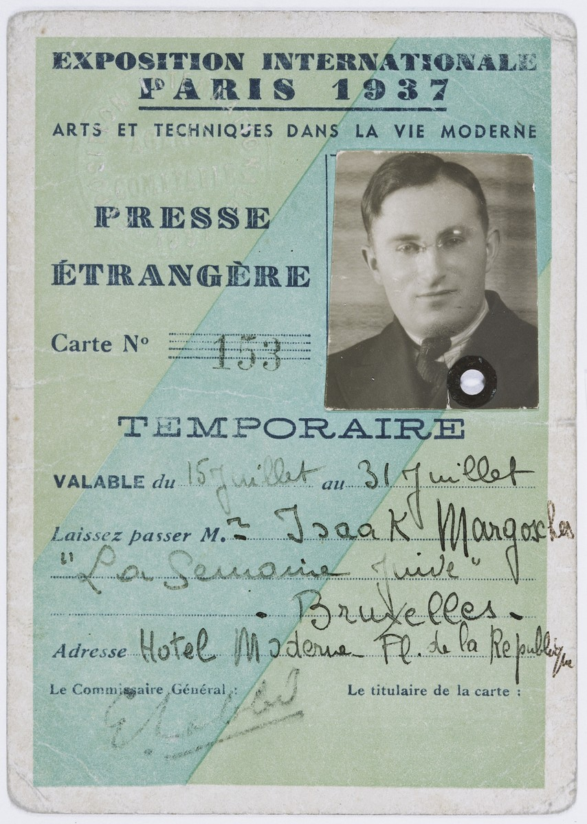 Press pass for Isaac Margosis, editor of the Yiddishe Voch.