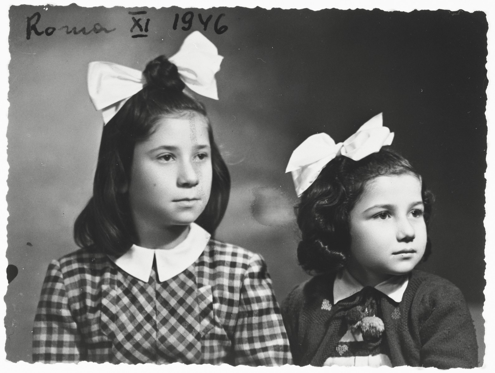 Studio portrait of Marylka Majranc and Rivka Horowitz taken in Rome after the war.