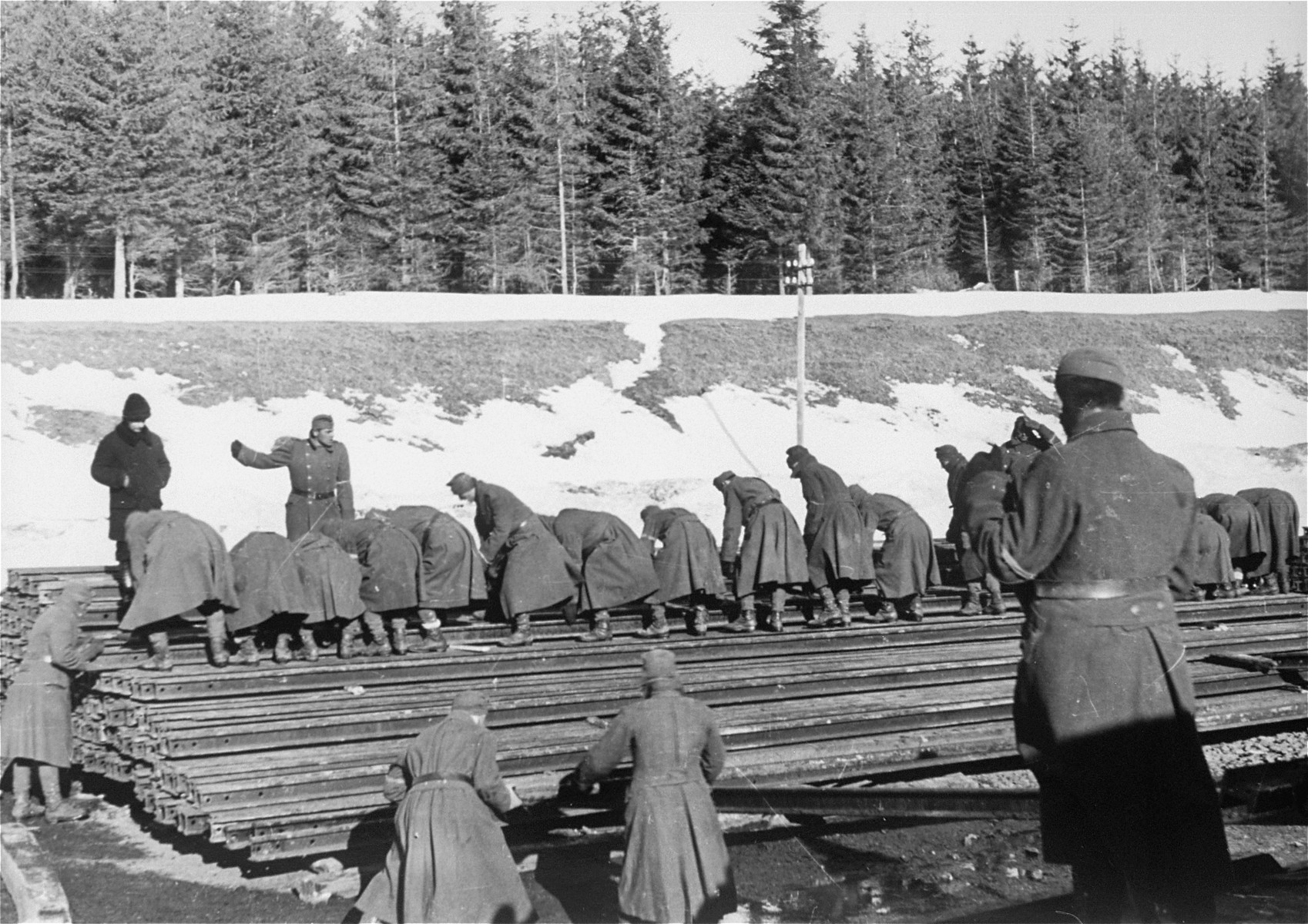 Jewish conscripts in Company 108/57 of the Hungarian Labor Service at forced labor unloading and stacking rails