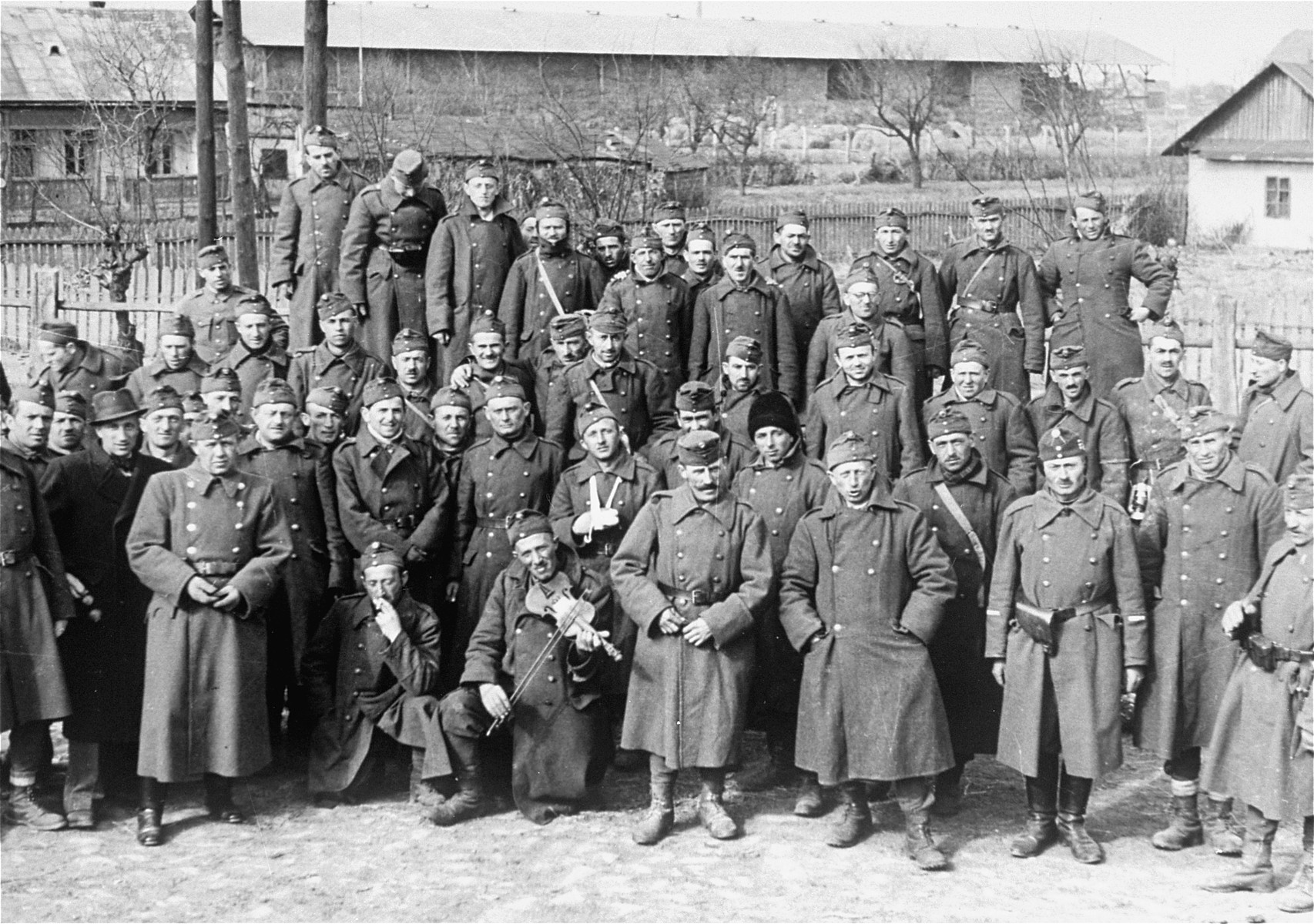 Hungarian-Jewish conscripts in Company 108/57 of the Hungarian Labor Service, after their return to Ungvar from Sianki.