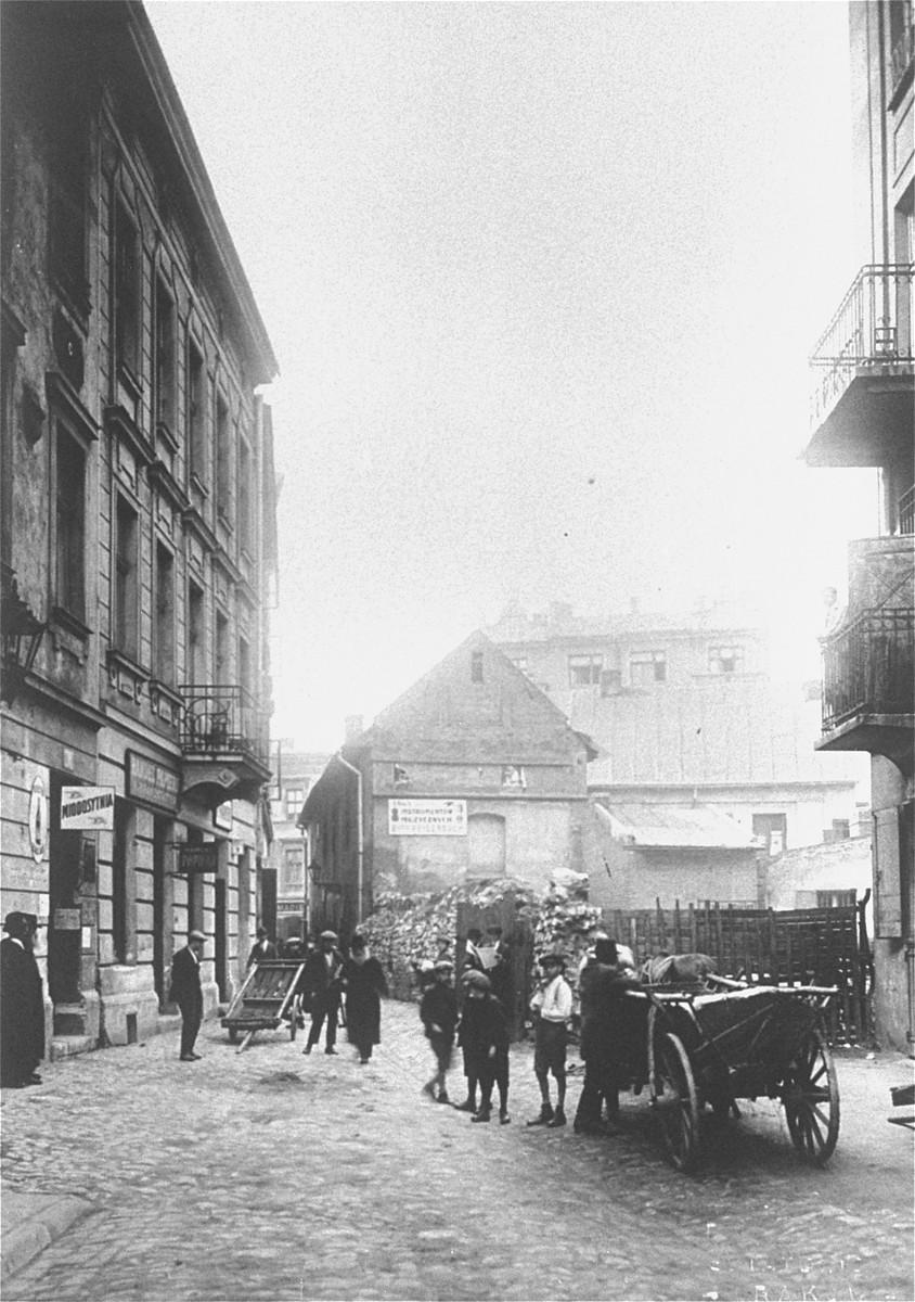 Street scene in Kazimierz, the Jewish quarter of Krakow.