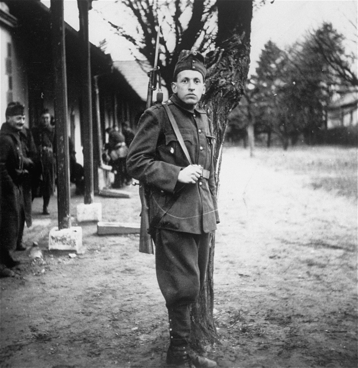 Guard at an unidentified labor camp in Hungary.