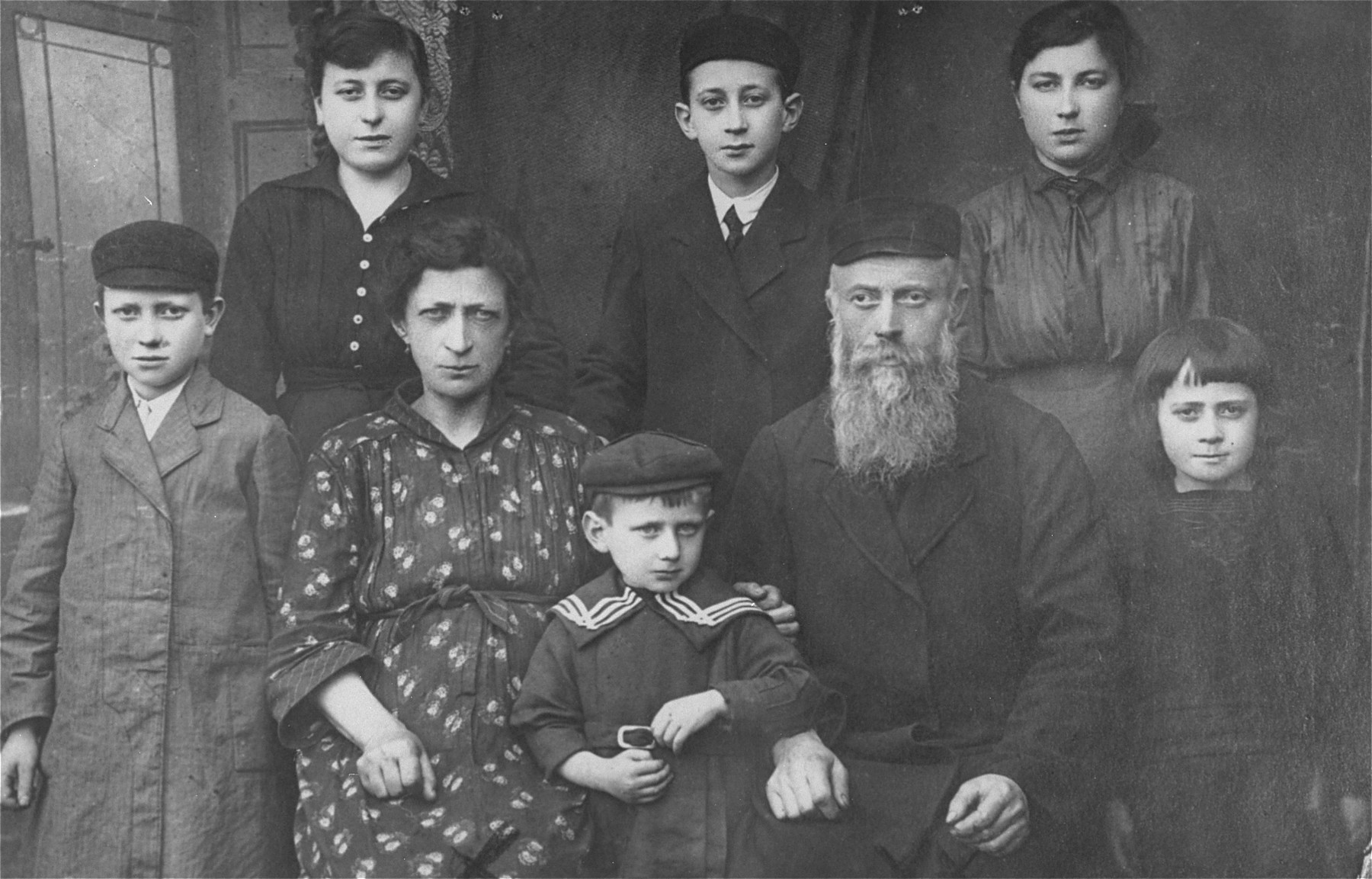 Portrait of the Goldstein family in Kozienice.    Only Samuel (the little boy in front) survived the Holocaust.