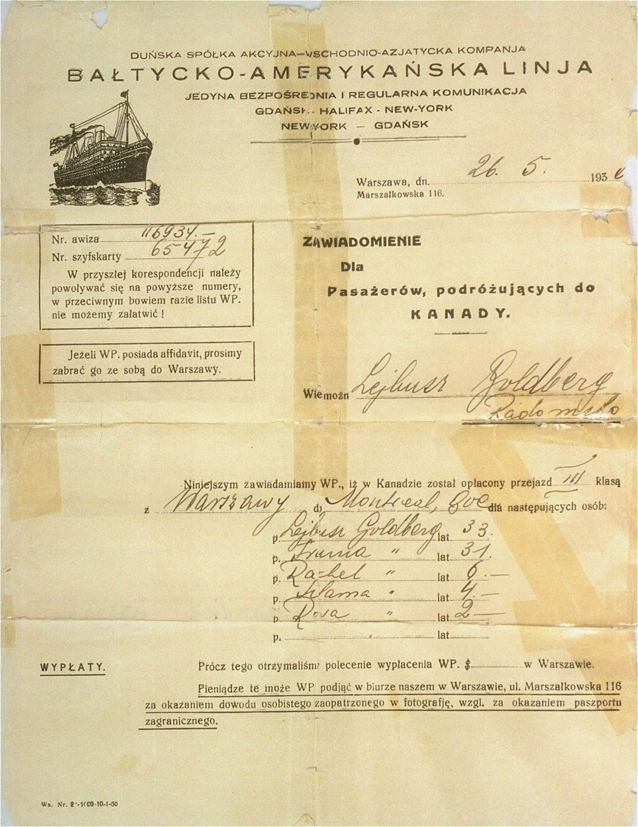 An official letter notifying the Goldberg family that their ship tickets have been paid for in Canada.
