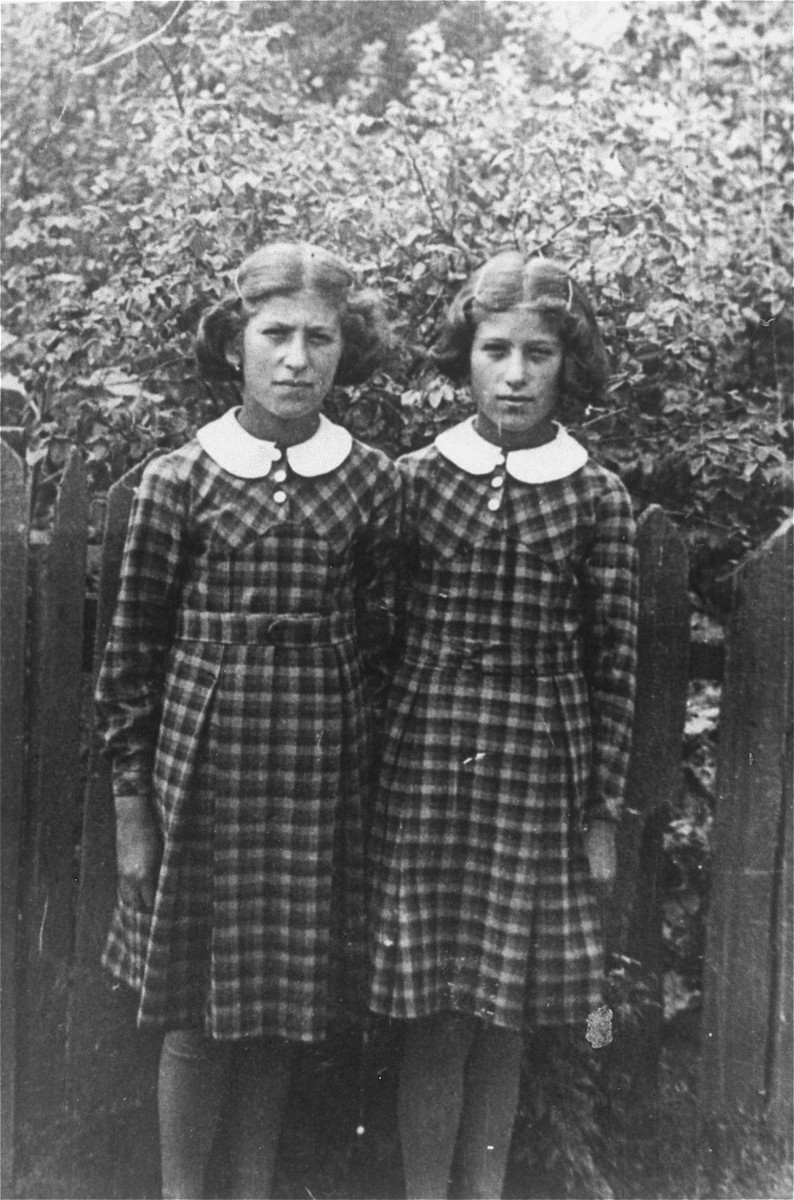 Portrait of Tebche and Sutche Fluss.the twin daughters of the donor's cousin.  Both sisters perished in the Holocaust.