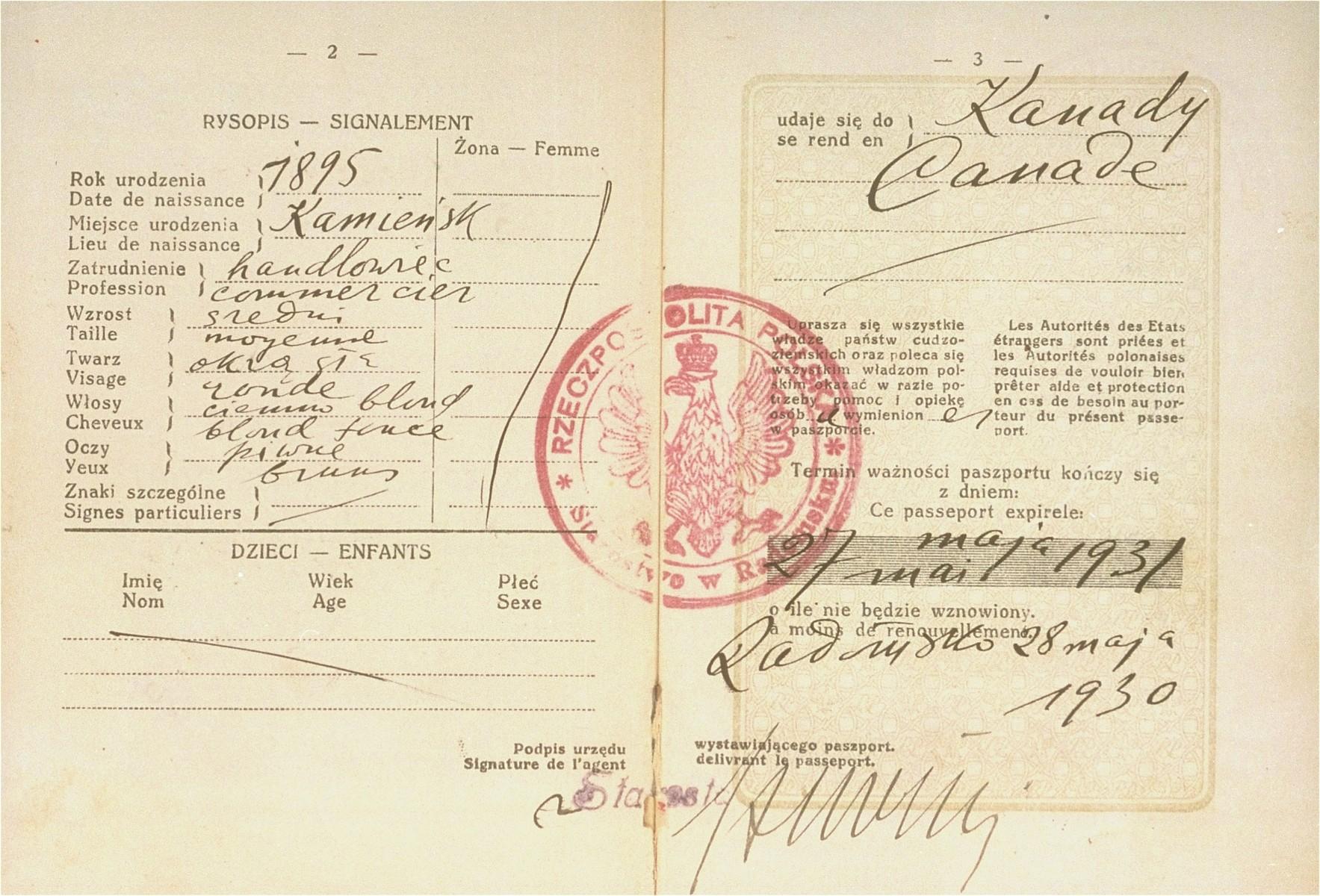 Passport of Lejbus Goldberg.