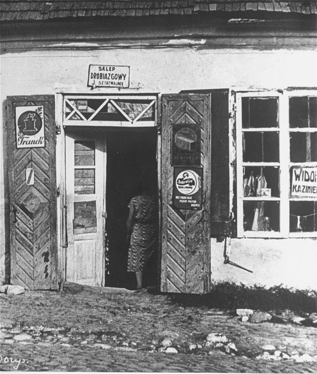 View of a Jewish business in Kazimierz.