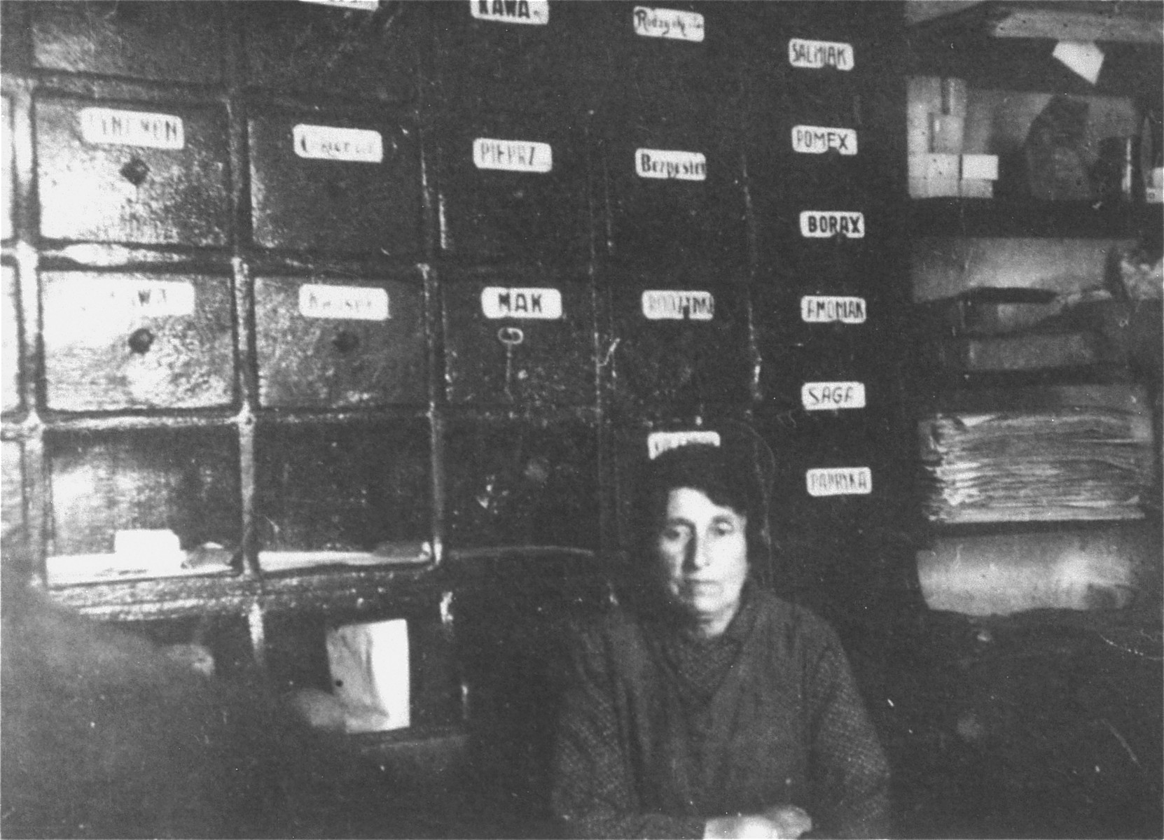 Serka Kasser Heilman, donor's paternal grandmother, in her grocery store in Dynow, near Przemysl.