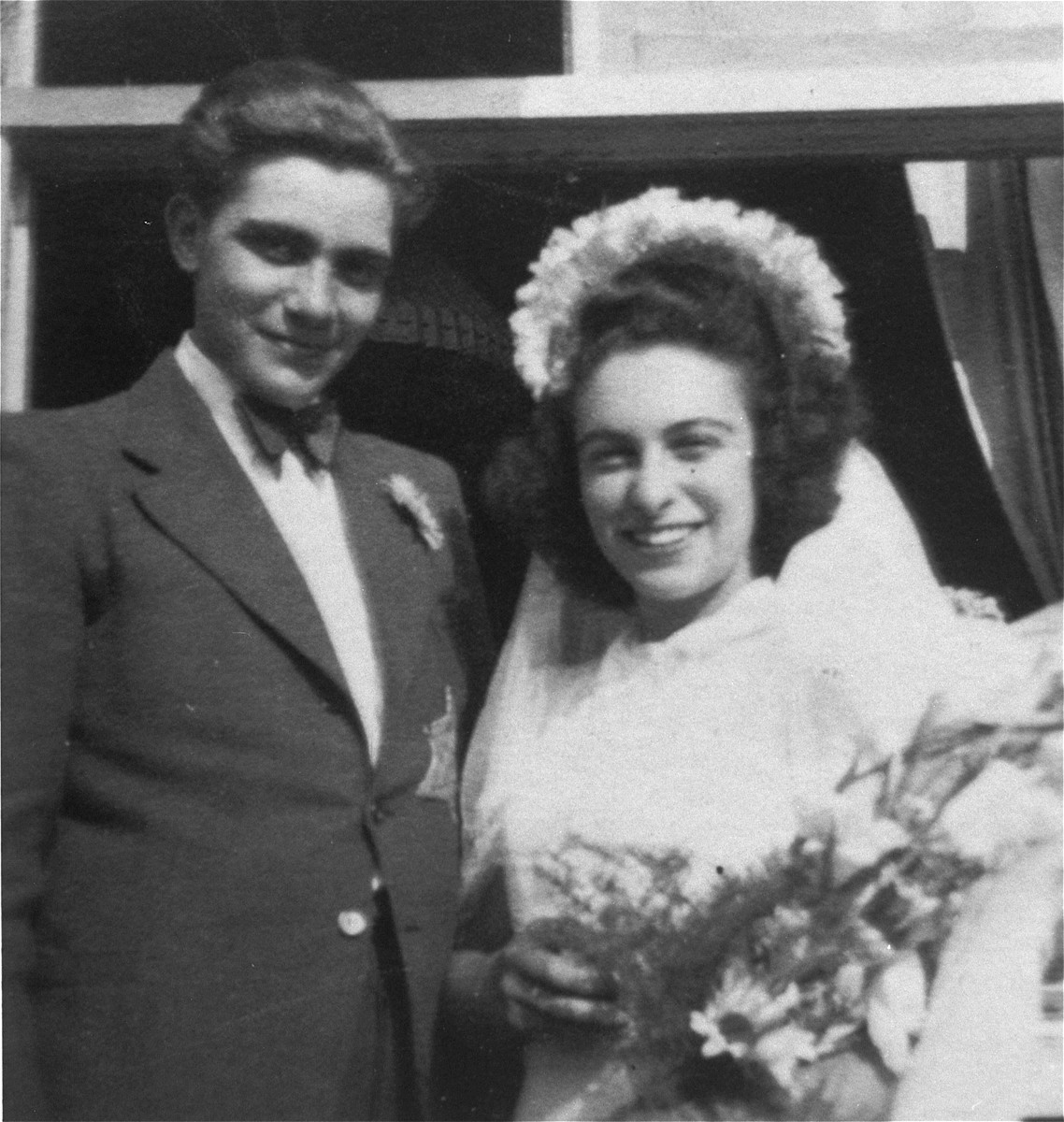 Portrait of a Jewish bride and groom at their wedding in the Westerbork transit camp.  Pictured are Peter and Sonja Margules.