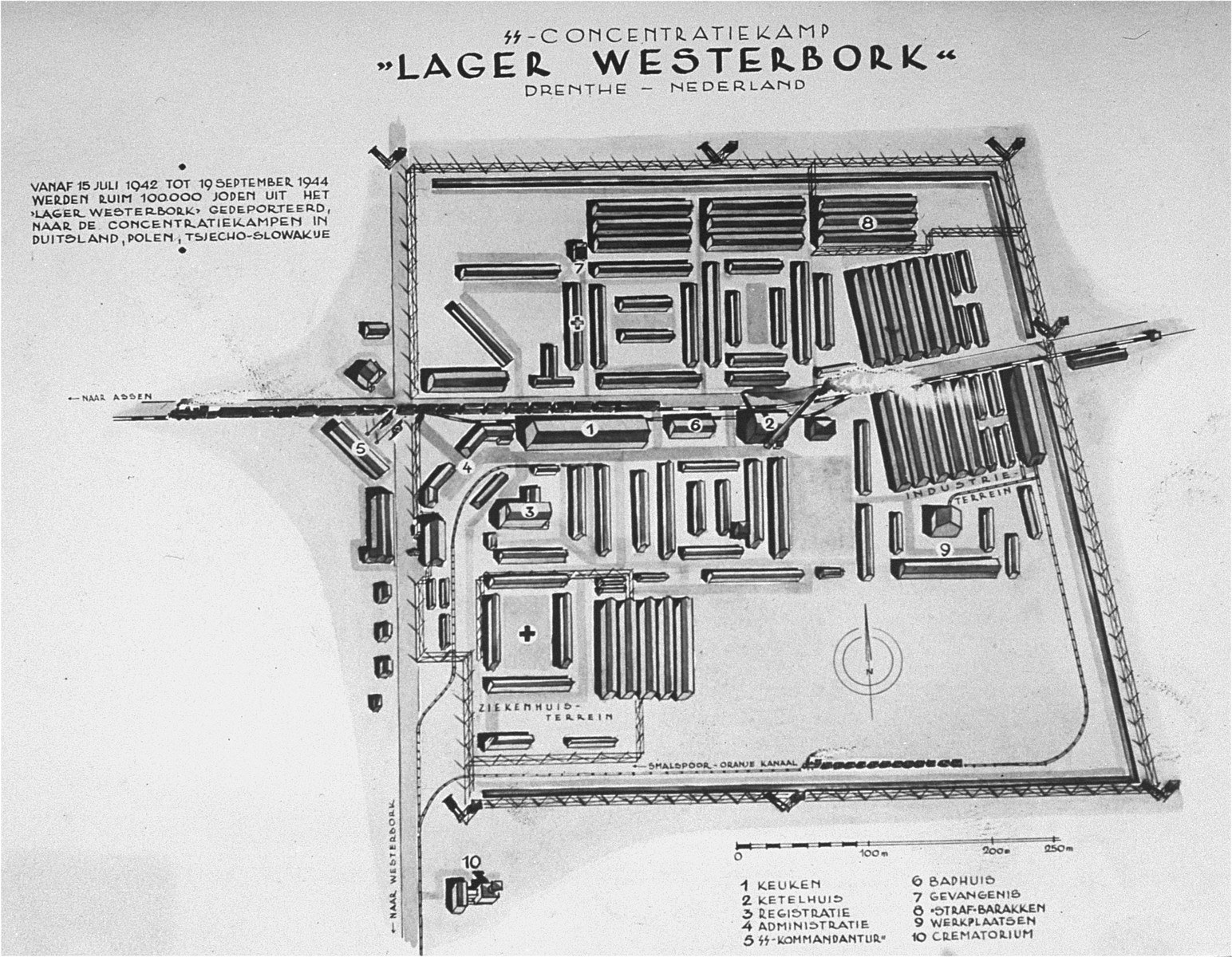 A map of the Westerbork transit camp.  Until July 1942, Westerbork was a refugee camp for Jews who had moved illegally to the Netherlands.  After the Nazi conquest of Holland, it was expanded it into a transit camp, where it operated April 1944.