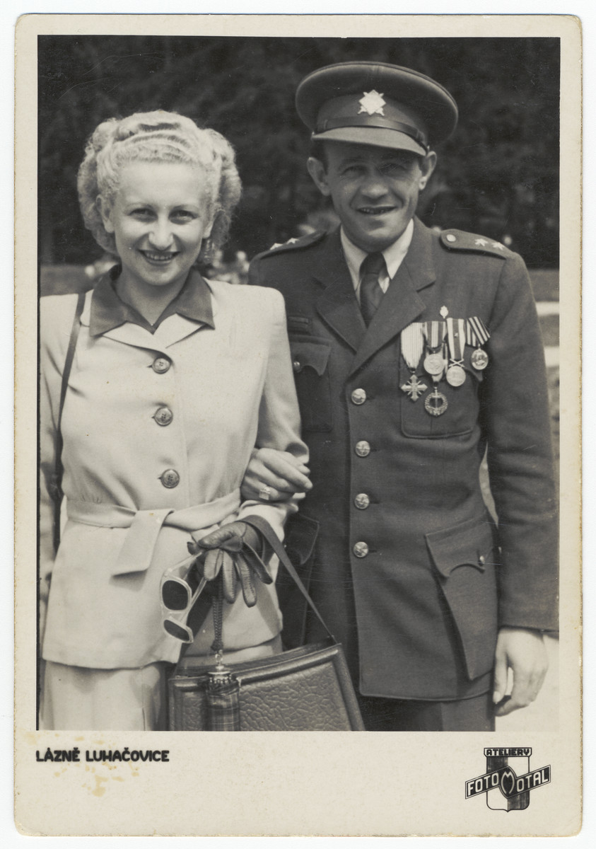 Wedding portrait of a female survivor and a Jewish officer in the first Czech  Army.  Pictured are Beatrice Neuman and Eugene Rada.