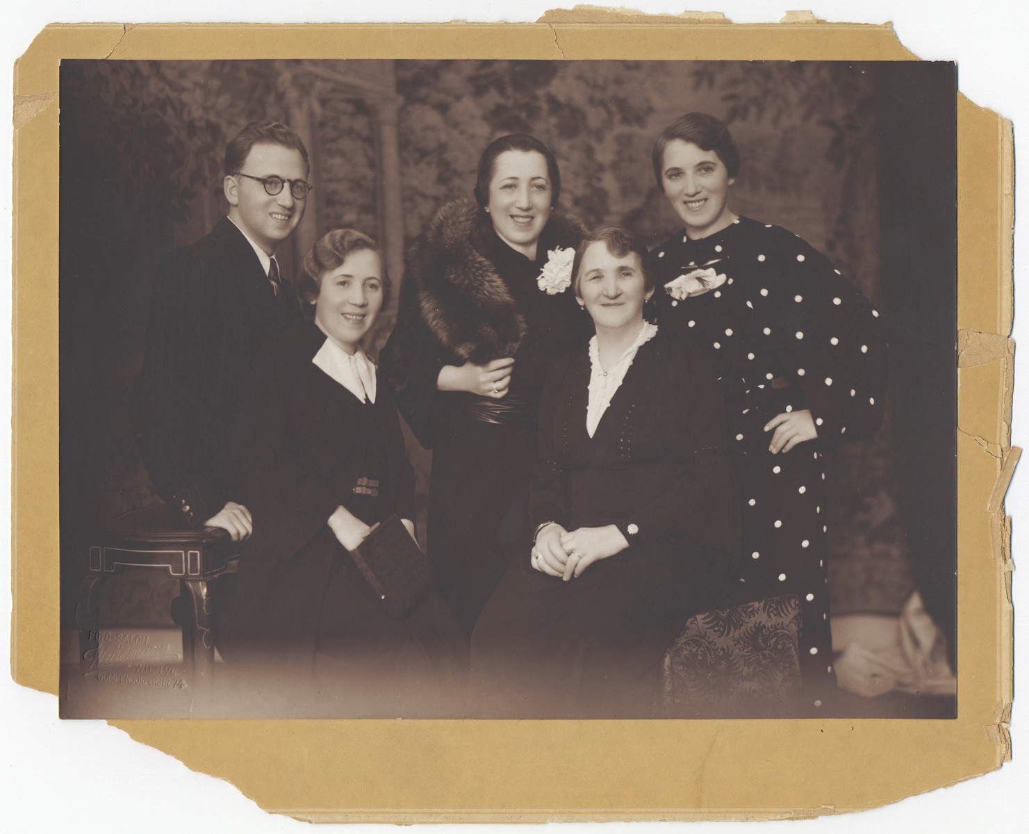 Portrait of an Austrian Jewish family.  Pictured is Frima Hochstaet (second from the right) and four of her children (left to right): Max, Regina orGreta, Sarafina, and Regina or Greta.