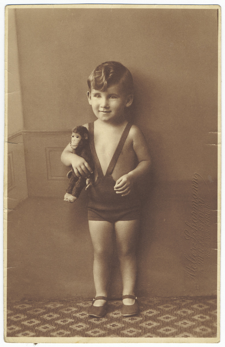 Portrait of Raoul Landau, a young Austrian Jewish boy,  holding a stuffed monkey.