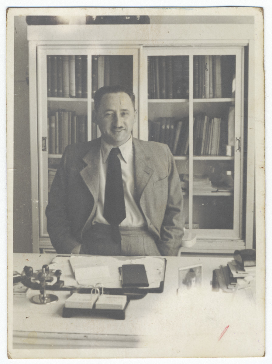 Close-up portrait of a Jewish physician in his office in Krakow.  Pictured is Dr. Herman Schlachet.
