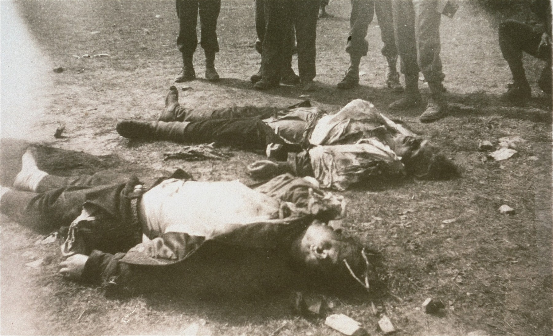 The bodies of SS guards killed in Ohrdruf by survivors.