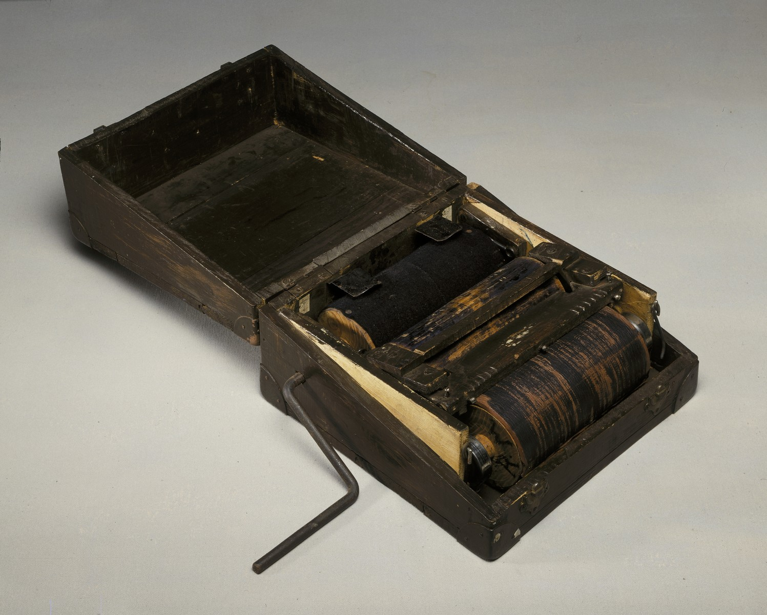 Portable printing machine in a wooden case made for, and used by, the French resistance during WWII.  Members of the French resistance used the machine to print false documents.