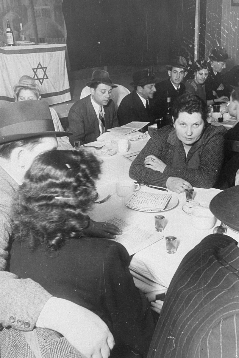 Jewish DPs attend a Passover seder at the Bamberg displaced persons camp.