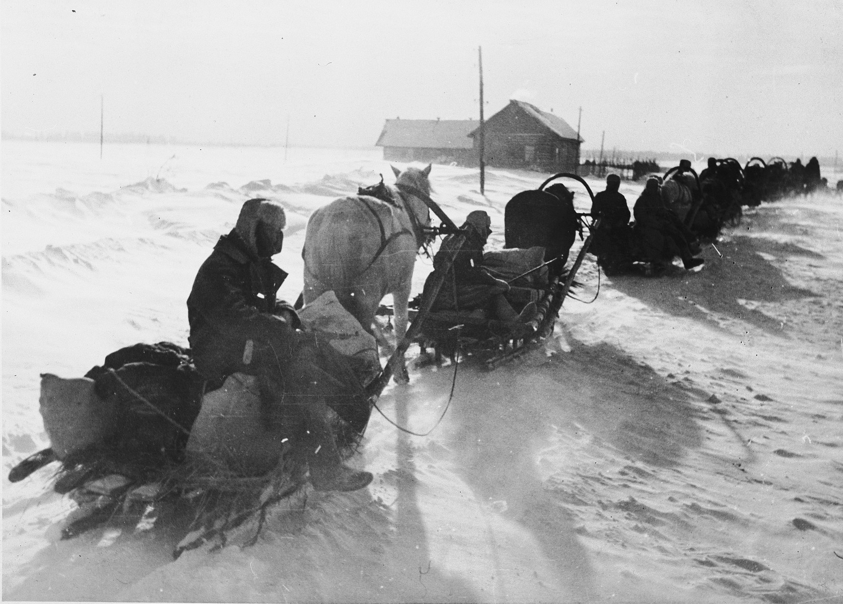 German soldiers ride in a caravan of horse-drawn sleighs through heavy snow [probably in the Soviet Union].