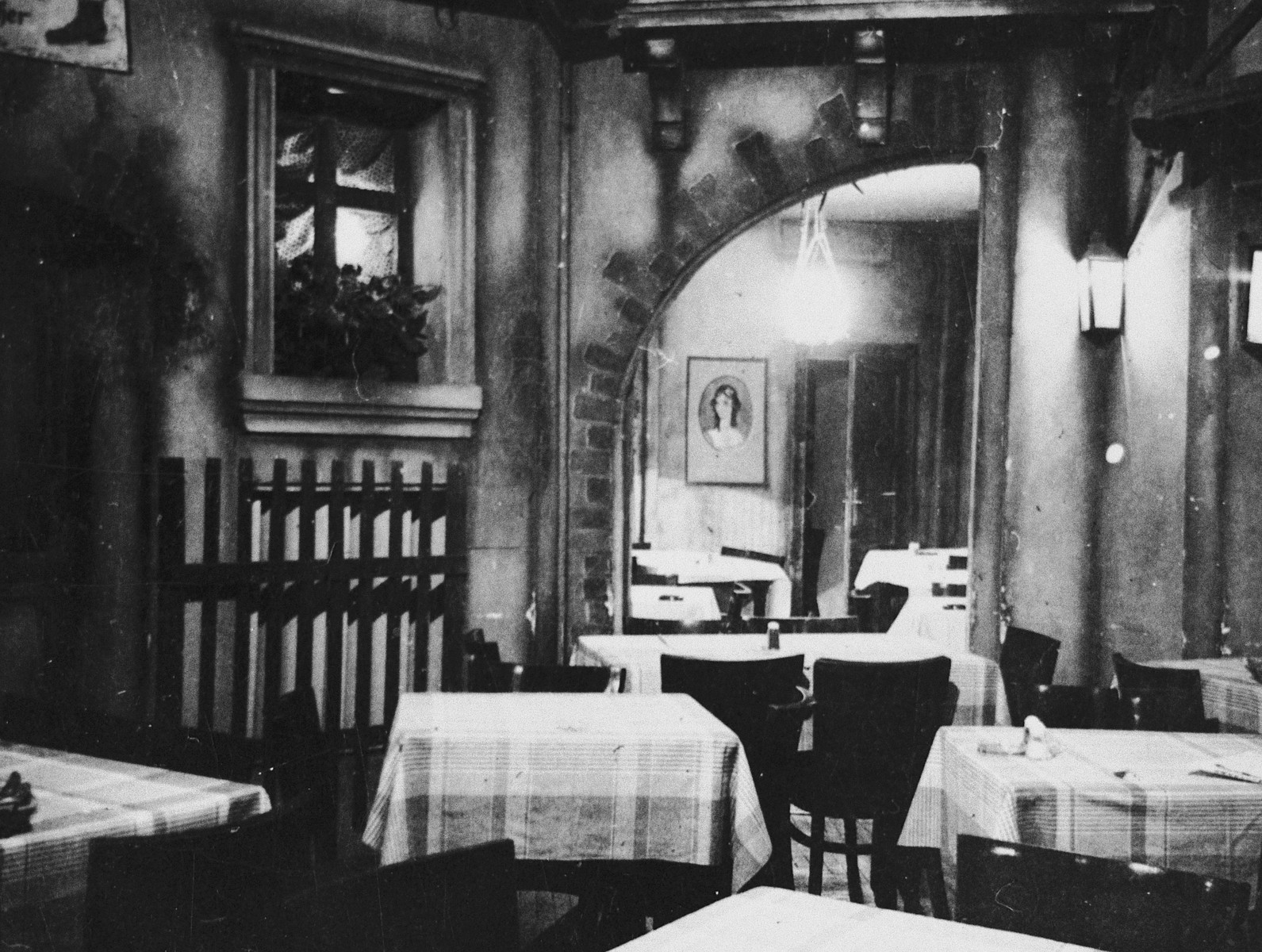 Interior view of the dining room of a kosher boarding house in Budapest.