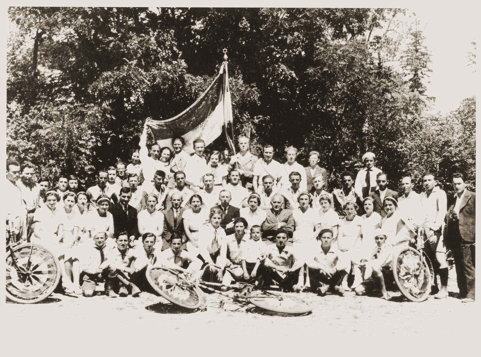 Group portrait of members of the Maccabi group of Sadgura  Included in the photo are Jacob Katz, Igo Teitler, Donia Schaeffer, Edith Kula and Katz.