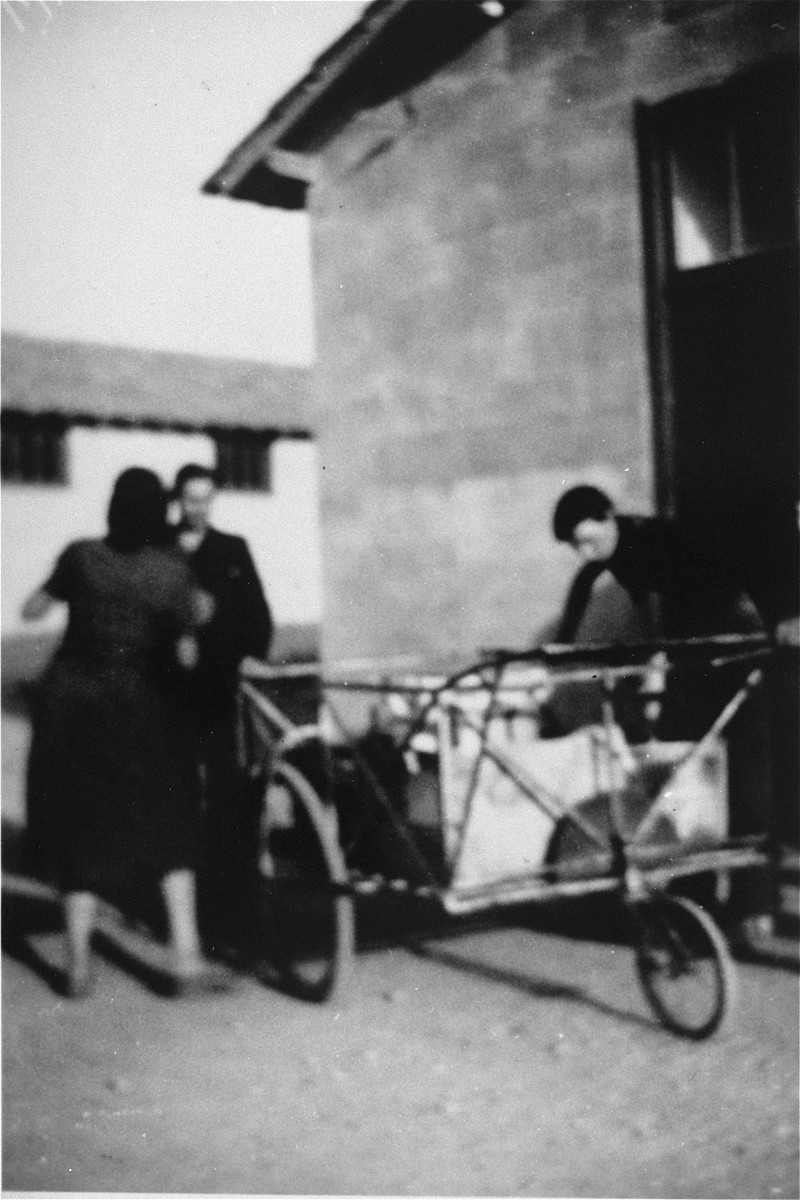 Prisoners with carts in Rivesaltes.
