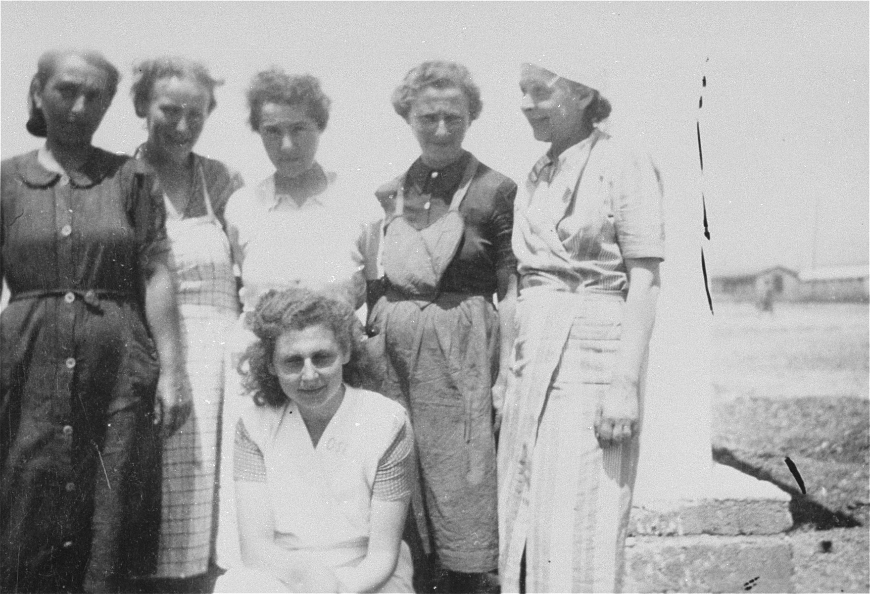 """Members of """"Le Comite,"""" a group of prisoners who helped to implement the medical and social assistance programs of the OSE relief agency in the Rivesaltes transit camp."""