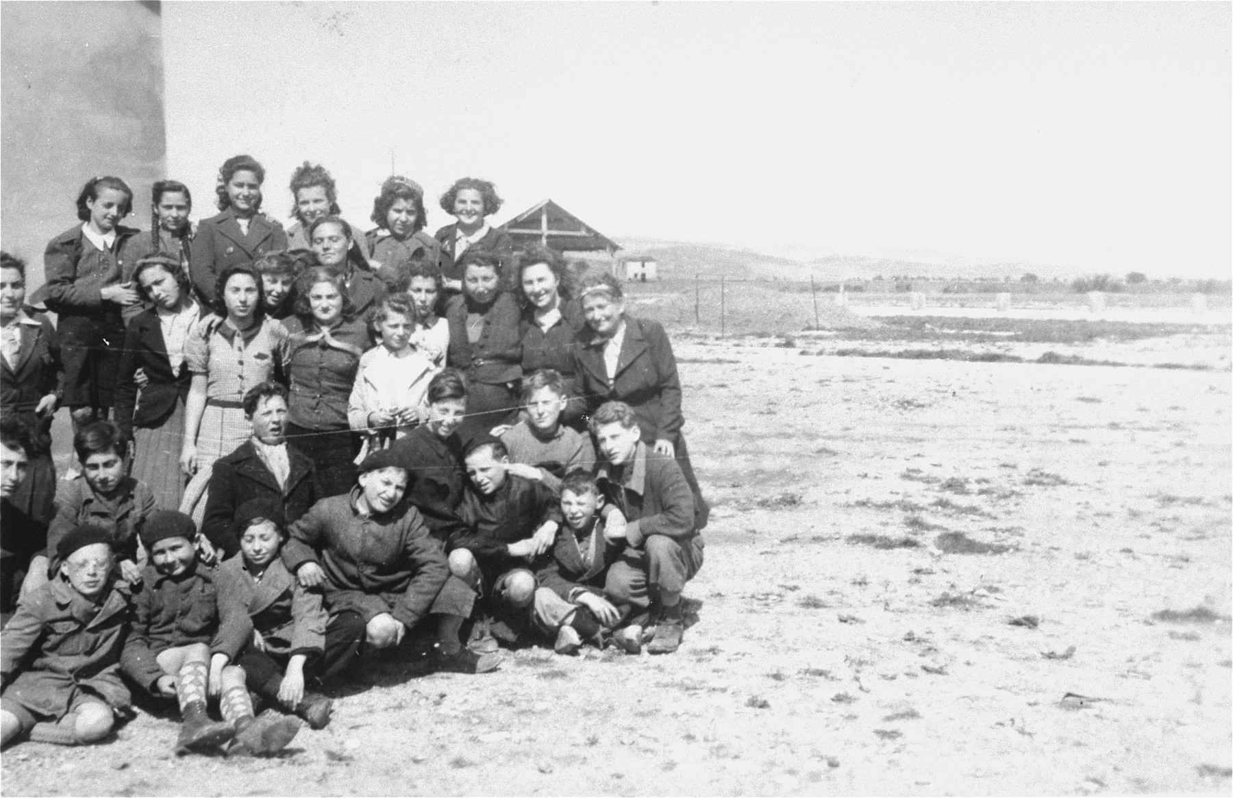 Group portrait of members of a scouting troop organized by Simone Weil in the Rivesaltes transit camp.