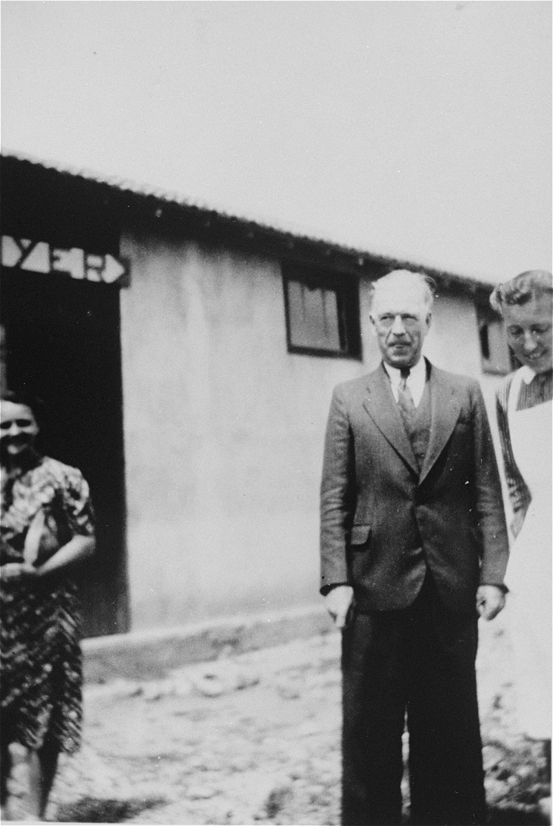 Volunteer resident social workers in Rivesaltes.  The woman on the left is Elizabeth Pedrizer, and the man in the center is Donald Lowrie, President of the YMCA.