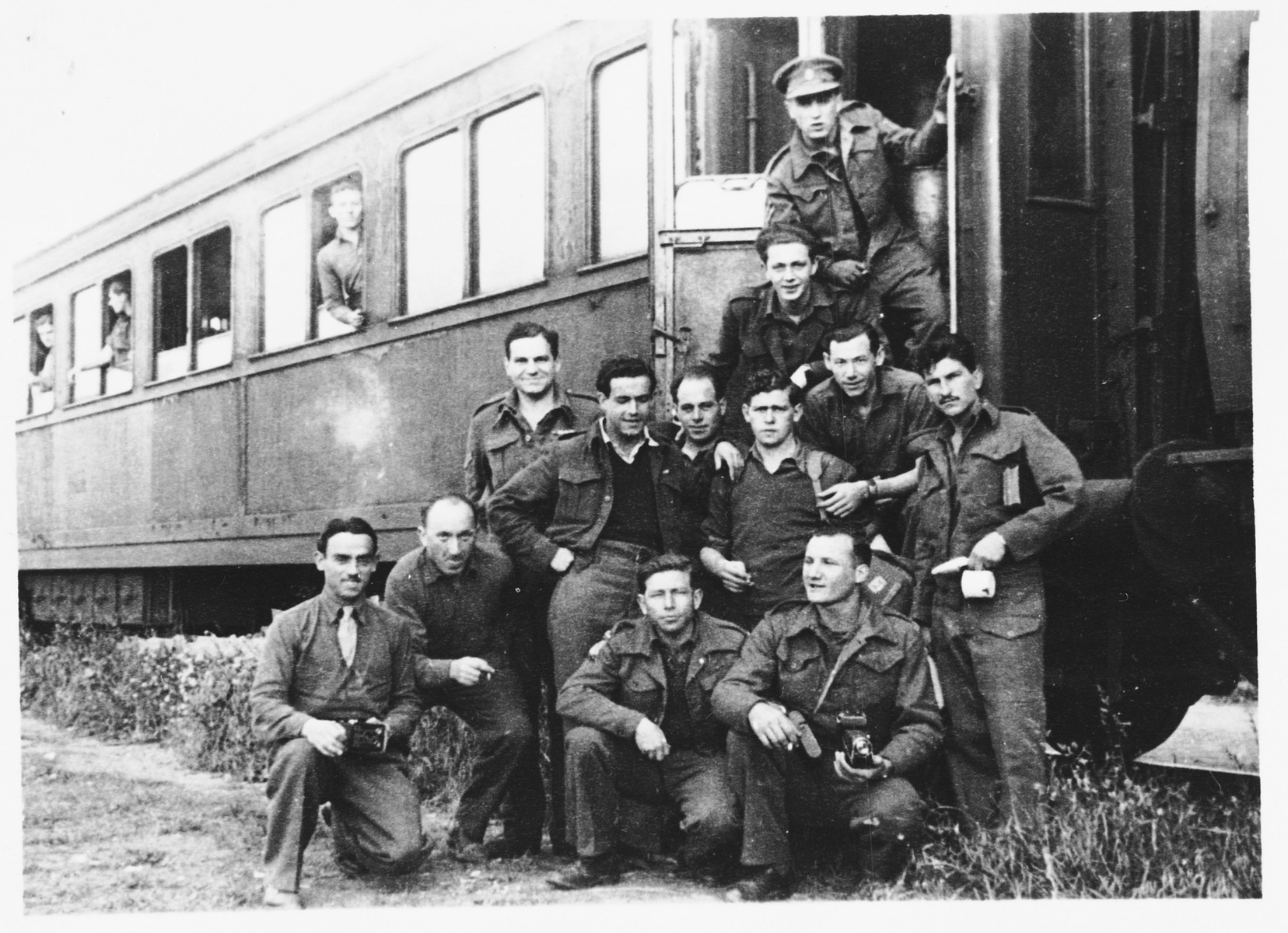 Arthur Einhorn and other Jewish Brigade soldiers board a train from Bornem to Toulon on their way to Israel following the British decision to disband the Brigade.