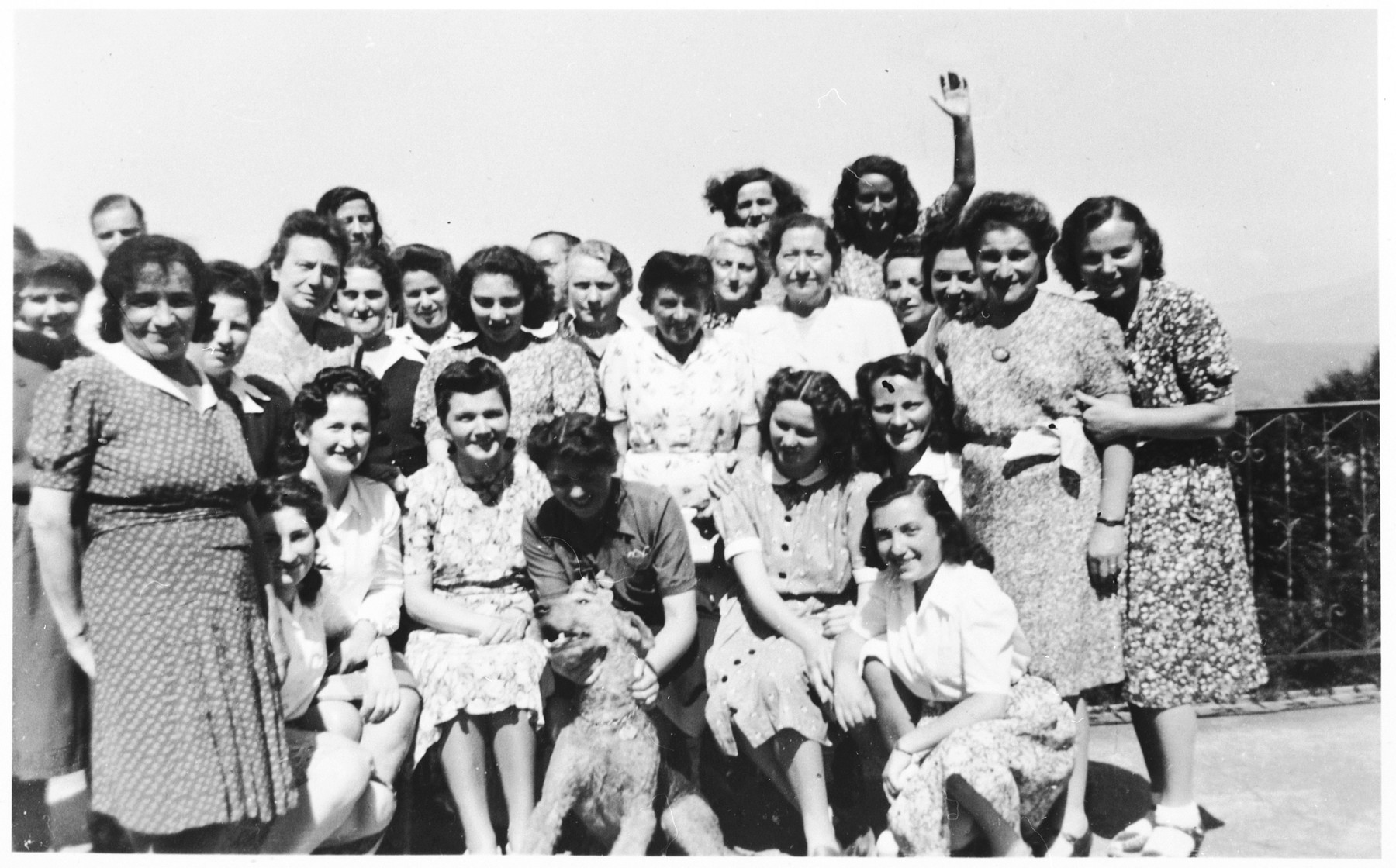 Group portrait of Jewish prisoners in a refugee camp in Switzerland where Rosa was briefly interned.